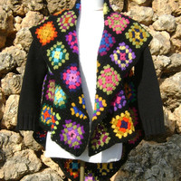 Granny Square Crochet Blanket Jacket Upcycled Granny Square Black Jacket S/M WinterJacket