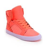 Supra Womens Skytop Neon Coral Leather & Nylon High Top Shoe