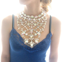 Gigantic Sparkling Mega Rhinestone Statement Necklace, Dramatic Crystal Clear Aurora Borealis Floating Gem Jewelry
