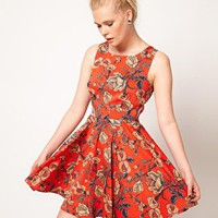 Minkpink 'Inked' Rose Print Skater Dress at asos.com