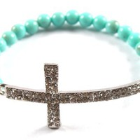 Turquoise Iced Out Cross Beaded Bracelet Shamballah