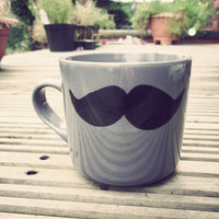 Mr Teacup&#x27;s big moustache mug in grey by MrTeacup on Etsy