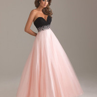 Pink &amp; Black Chiffon &amp; Tulle Deep Sweetheart Beaded Empire Waist Prom Gown - Unique Vintage