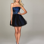 Evenings By Allure - Navy Pleated Taffeta & Tulle Strapless Homecoming Dress With Vintage Flair - Unique Vintage