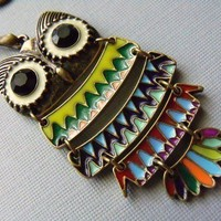 Colorful Owl Necklace by pinkingedgedesigns on Etsy