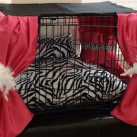 Dog Crate Cover Ensemble in Hot Pink and Zebra( Free Custom Embroidery)