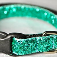 Metallic Teal Glitter Dog Collar