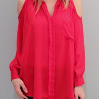 Cut Out Shoulders Blouse in Red