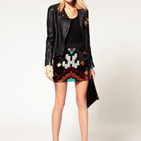 Vero Moda | Vero Moda Navajo Sequin Mini Skirt at ASOS