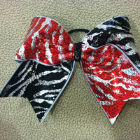 "3"", 3 inch cheer cheerleader bow red black silver sequin zebra-Team Bows"