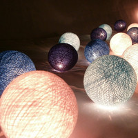 Blue Tone mixed color cotton balls string light with 3 m. wire and adapter for room and party decoration