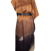 Orange Autumn Tree Moon Belted Dress, Draw In Light. Shop the Draw In Light collection at Liberty.co.uk