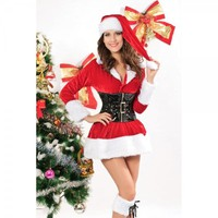 Sexy Velet Mrs Santa Claus Costume Outfit Red Women Christmas Cosplay  Free Shipping