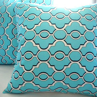 Aqua Turquoise White Throw pillow cover 18x18, floral pillow cover