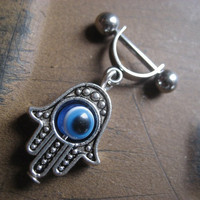 16 Gauge Helix Bar Hand Of Fatima Hamsa Blue Evil Eye Charm Dangle 16g G Industrial Barbell Upper Ear Piercing