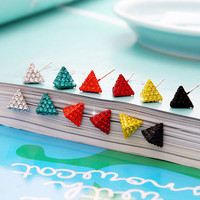 Color 3D Triangle CZ Rhinesone Stud Earrings Sterling Silver Post AR245_ER