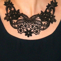 Lace necklace statement necklace chain and black lace necklace floral lace bib collar necklace evening -Beauty Of The Night Necklace