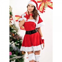 5Pcs Sexy Santa Dress Costumes Lovely Girl Christmas Outfit Free Size   Free Shipping