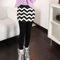 Elastic Waist Striped Skinny Pantskirt,Cheap in Wendybox.com