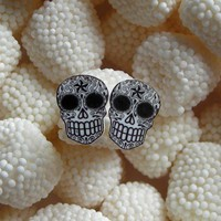 Black and White Filigree Sugar Skull Earrings