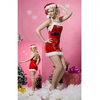 New Sexy Red Fancy Cosplay Christmas Hoody Slim Dress With Matching Belt   Free Shipping