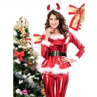 Santa Claus Women Christmas Costume Trousers Red Cosplay 4PC Outfit  Free Shipping
