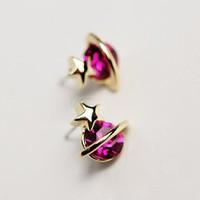 Elegant Style and Fashion 5Pairs Rhinestone Inlaid Saturn Shape Ear Studs