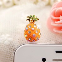 Earphone Jack Accessory 1pcs Of Orange Small pineapple Crystal Pearls / Dust Plug / Ear Jack For Fo