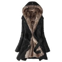 Amazon.com: Zicac Women's Thicken Fleece Faux Fur Warm Winter Coat Hood Parka Overcoat Long Jacket Fur Winter Coat Fur Coat Winter Warm Jackets Wrap Trench Coat Womens Christmas gift Womens gift: Sports & Outdoors