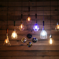 Build Your Own -  Industrial Hanging Pendant Light with Vintage Style Wire Cage Guard - Cage Pendant Light - Hanging Pendant Light