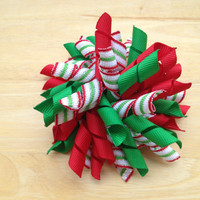 Christmas hair bow - Christmas korker bow - red & green korker