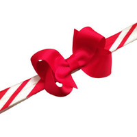 Candy cane headband with 3 inch red boutique bow - Christmas headband, baby headband