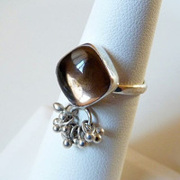 smokey quartz ring - tassel ring - sterling silver ring - artisan ring - gemstone jewelry - bezel set ringing - size 5.5 5.5