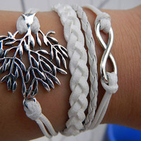 White wax rope Antique Silver radio Christmas tree Adjustable Bracelet best Christmas gift