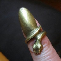 Vintage Retro Finger Nail Ring Snake Wrapped Around Goth Antique Gold