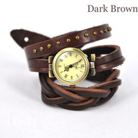 The twist braid winding Rome Leather Wrap Watch