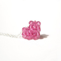 Pink Heart Necklace, Swarovski Crystal Heart Pendant Necklace, Gifts For Her, Jewelry Under 40