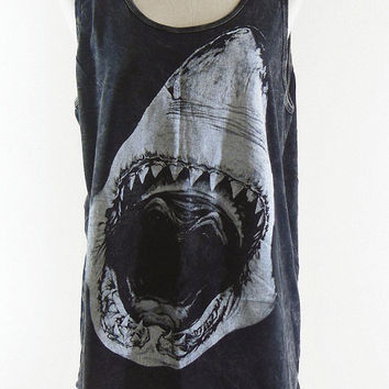 Shark Shirt -- Bleach Shirt Black Shirt Shark T-Shirt Shark Week Animal T-Shirt Women T-Shirt Tank Top Women Shirt Tunic Sleeveless Size M,L