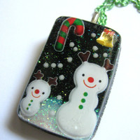 Christmas Snow Buddies Resin Necklace