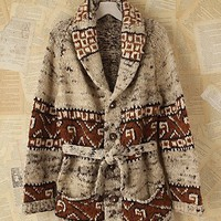 Free People Vintage Patterned Wool Tie Cardigan