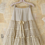 Free People Vintage Creme Tiered Lace and Tulle Skirt