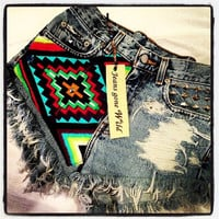 High waisted destroyed denim shorts super frayed with tribal motif size Sm/Med/Lg