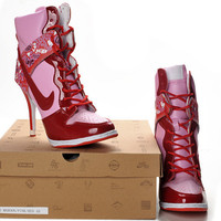 New Cheap Red Pink Nike Dunk High Heels Women