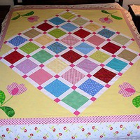 Completed Quilt Top Bubble Gum Fun With Applique Top Plus Backing