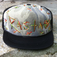 Hand Stitched Trucker Hat / Infant / Army Rasta Love - Black