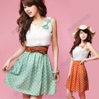 Women&#x27;s Korean Fashion Style Polka Dot Sweet Lovely Mini Dress Chiffon+ Lace Hot
