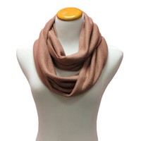 Mauve Pink Simple Lightweight Knit Eternity Ring Circle Scarf