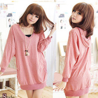 Preppy Style Womens Hooded V-neck Loose Batty Sleeve T-shirt Tee Tops Solid 4888