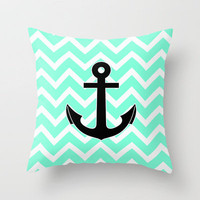 Tiffany Chevron Anchor Throw Pillow by Rex Lambo | Society6