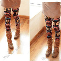 New Knitted Colorful Crystal Pattern Leggings Tights Pants Dry Acrylic Hot N98B